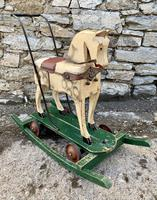 Antique Wooden Push Along Rocking Horse Toy (11 of 19)