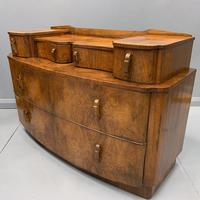 Art Deco Bow Front Chest of Drawers in Walnut (2 of 8)