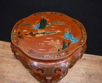 Chinese Pedestal Stand Table in Cinnabar Lacquer Chinoiserie (9 of 26)
