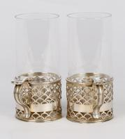 Elkington Pair of Crested Silver Plated Glass Storm Lamp Handled Lanterns 1888 (11 of 17)