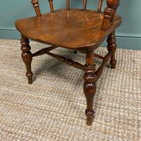 Elm Early Victorian Antique Smokers Bow Arm Chair (4 of 7)