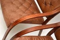 Pair of Scandinavian Bentwood & Leather Vintage Armchairs (10 of 14)