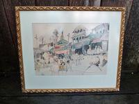 """William Papas """" India  """" Mixed Media Painting 1970's - 6 of 6 Listed"""