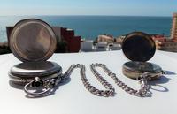 Victorian Solid Silver Omega Gurzelen Pocket Watch & Solid Silver Albert Chain (7 of 8)