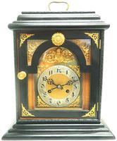 Interesting Quarter Striking German Bracket Clock by Junghans in Ebony Glazed Case (3 of 9)