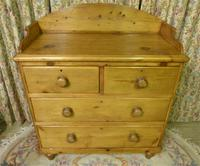 Victorian Stripped Pine Chest of Drawers with Shaped Upstand & Wooden Knobs (4 of 8)