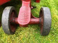 English Vintage Railway Willmot Trolley Oak Iron Plank Top Coffee Wheel Table (13 of 25)