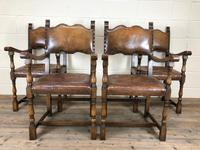 Set of Four Antique Leather Armchairs (12 of 16)