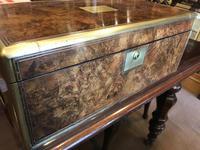 Burr Walnut Brass Inlaid Writing Box (10 of 17)