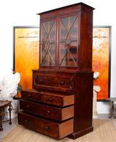 Tall Antique Secretaire Bureau Bookcase Astragal Glazed Mahogany Library Cabinet (5 of 13)