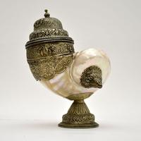 Antique Anglo Indian Silver Mounted Nautilus Shell Cup