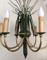 Vintage Art Deco Style Murano & Toleware Wheatsheaf Ceiling Light Chandelier (5 of 12)