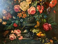 Dutch 18thc Manner RARE Huge Pair Vintage Fruit Floral Still Life Oil Paintings (16 of 23)