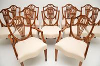 Set of 12 Antique Sheraton Style Shield Back Dining Chairs (15 of 15)
