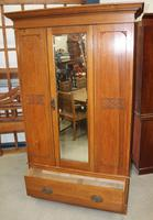 1940's Mirrored 1 Door Oak Wardrobe With Large Drawer. (4 of 5)