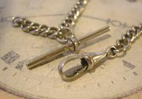 Antique Pocket Watch Chain 1890 Victorian Chunky Silver Nickel Albert With T Bar (8 of 11)