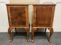 Pair of Burr Walnut Queen Anne Bedside Cupboards (5 of 15)