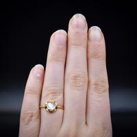 Vintage Moonstone Round Buttercup 18ct 18k Yellow Gold Ring (4 of 9)