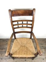 Antique Elm Spindle Back Armchair with Rush Seat (7 of 10)