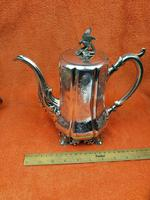 Antique Victorian Silver Plate Teapot C1870 Hand Engraved Folate Patterning with Bird, Maybe Eagle Finial (4 of 11)
