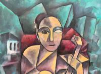 Original 20th Century Continental Abstract Cubism Style Portrait Oil Painting (5 of 11)