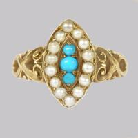 Antique Turquoise & Pearl Ring 18ct Gold Victorian Navette Shaped Ring circa 1890 (9 of 16)