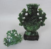 Large Early 20th Century Chinese Spinach Jade Urn & Cover (4 of 6)
