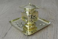 Fine English Victorian Brass Inkwell in the Japanese Inspired Style c.1880 (6 of 7)