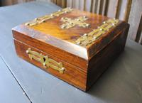 Antique Religious Walnut & Brass Box (4 of 6)
