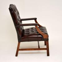 Pair of Antique  Deep  Buttoned Leather Library Armchairs (7 of 12)