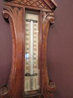 Small  Antique Polished Oak Decorative Banjo Barometer (3 of 8)