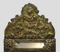 Small 19th Century French Repoussé Brass Cushion Mirror (2 of 7)