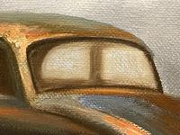 """Oil Painting """"Unloved Abandoned VW Beetle Car"""" Signed David Robert (18 of 27)"""