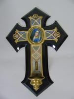 19th Century Champleve Enamel and Bronze Crucifix Holy Water Stoop (2 of 6)