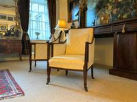 Exceptional Pair of Mahogany Inlaid Linen Silk Upholstered Bergere Armchairs (8 of 12)