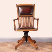 Teak Revolving Office Desk Chair (11 of 17)