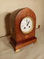 Inlaid Light Mahogany Lancet-top Mantel Clock (3 of 7)