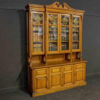 Edwardian Oak Breakfront Bookcase with Open Central Section (5 of 10)