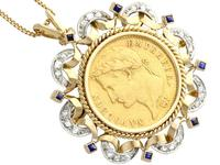 0.16ct Sapphire and 0.40ct Diamond, 18ct Yellow Gold and 22ct Gold Coin Pendant / Brooch - Antique French c.1890 (6 of 9)