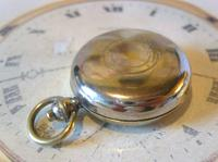 Antique Pocket Watch Chain Compass Fob 1910 Edwardian French Silver Nickel Fob (3 of 8)