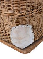 Vintage large strong cane and pig skin log or storage basket (5 of 8)