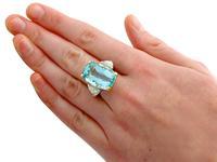 25.23ct Aquamarine & 3.40ct Diamond, Platinum Dress Ring - Vintage c.1950 (7 of 9)