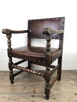 Set of Six Oak and Leather Dining Chairs (14 of 23)