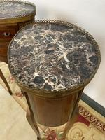 French Marquetry Bedside Tables Oval Cabinets with Marble Tops (11 of 12)