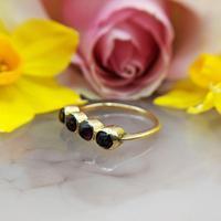 Vintage 18ct Gold Four Garnet Crystal Ring (5 of 9)