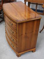 1960's Yew Wood Bow Front Chest of Drawers (4 of 4)