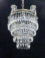 Pair of Italian Art Deco Four Tier Crystal Glass Chandeliers (7 of 7)