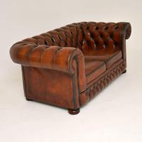 Antique Victorian Style Leather 2 Seat Chesterfield Sofa (4 of 13)