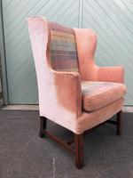 Antique English Mahogany Upholstered Wing Armchair (3 of 10)