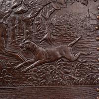 Antique Embossed Fire Screen, Oak, Leather, Fireside, Arts & Crafts, Edwardian (9 of 12)